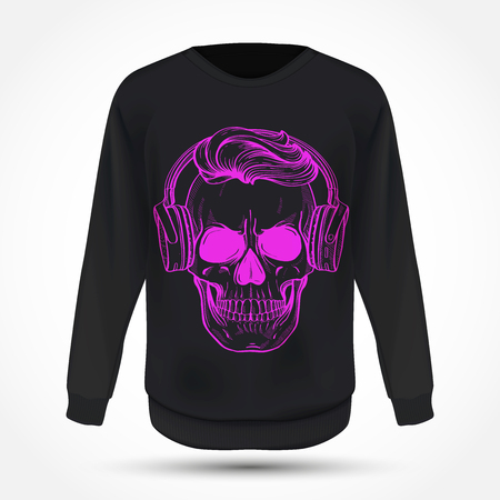 Angry skull with cirly hairstyle, moustaches and headphones on jumper . Vector illustration, EPS 10