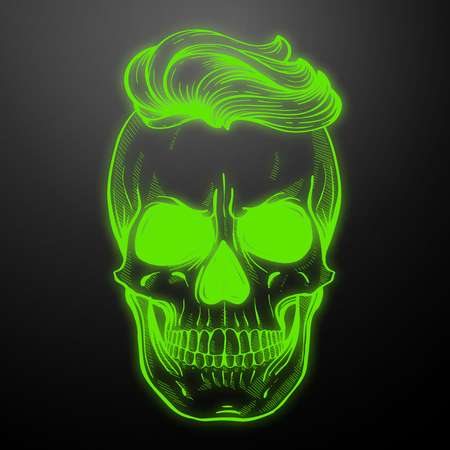 Angry skull with hairstyle, beard and sunglasses, line art. Vector illustration, EPS 10
