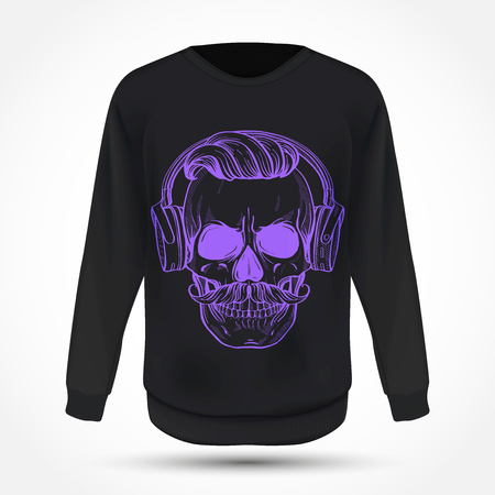 Angry skull with moustaches, hairstyle and headphones on jumper . Vector illustration, EPS 10