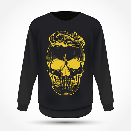 Angry skull with hairstyle on jumper . Vector illustration, EPS 10