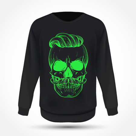 Angry skull with moustaches and hairstyle, line art on jumper. Vector illustration, EPS 10