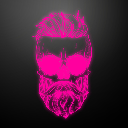 Angry skull with hairstyle, moustaches, beard and sunglasses. Vector illustration, EPS 10