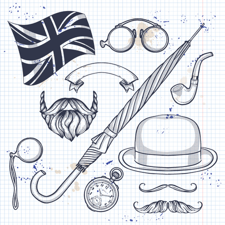 Sketch of elements beard and mustaches, rimless eyeglasses, umbrella, british flag, pocket watch, tobacco pipe on a notebook page