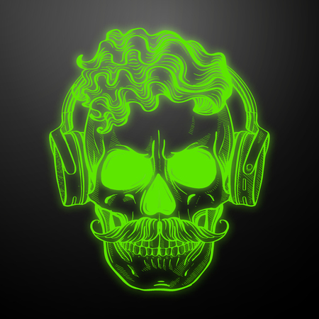 Angry skull with cirly hairstyle, moustaches and headphones . Vector illustration, EPS 10 Illustration