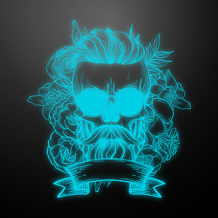 Angry skull with hairstyle, moustaches, beard and sunglasses with flowers and ribbon. Vector illustration, EPS 10