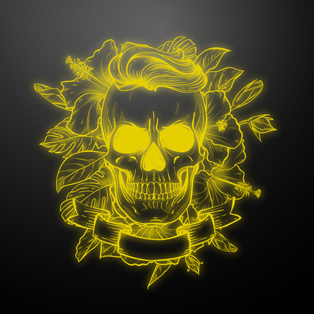 Angry skull with hairstyle with flowers and ribbon. Vector illustration, EPS 10 Illustration