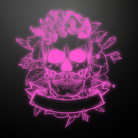 Angry skull with hairstyle and moustaches with flowers and ribbon. Vector illustration, EPS 10