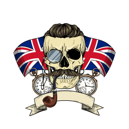 Color british skull with mustaches, rimless eyeglasses, umbrella, pocket watch, british flag and tobacco pipe