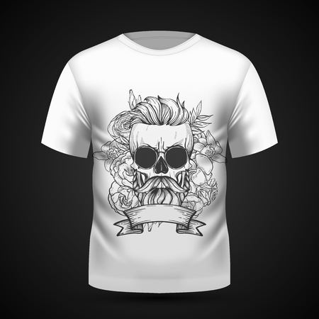 Angry skull with hairstyle, moustaches, beard and sunglasses with flowers and ribbon on T-shirt . Vector illustration, EPS 10