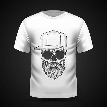 Teschio arrabbiato con acconciatura, baffi, barba, cappello e occhiali da sole su t-shirt. Illustrazione vettoriale, EPS 10
