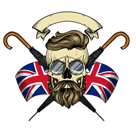 Color british skull with hairstyle, beard and mustaches, rimless eyeglasses, umbrella and british flag