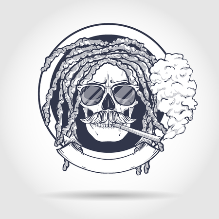 Sketch, skull with dreadlocks, round sunglasses, cigarette and mustaches