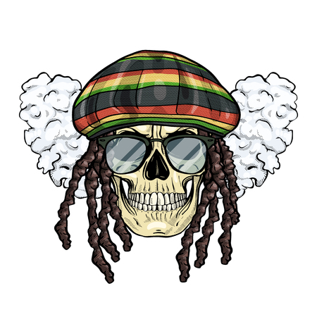Hand drawn sketch, color skull with dreadlocks, rastaman hat, smoke and sunglasses Illustration