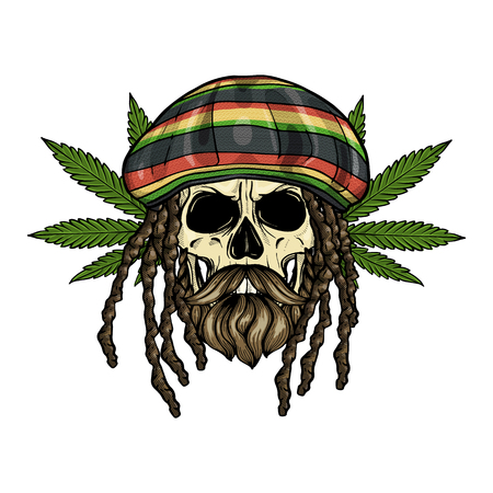 Hand drawn sketch, color skull with dreadlocks, rastaman hat, beard and mustaches and hemp leaf Illustration