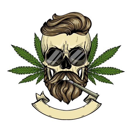 Hand drawn sketch, color skull with beard and mustaches, cigarette, hemp leaf