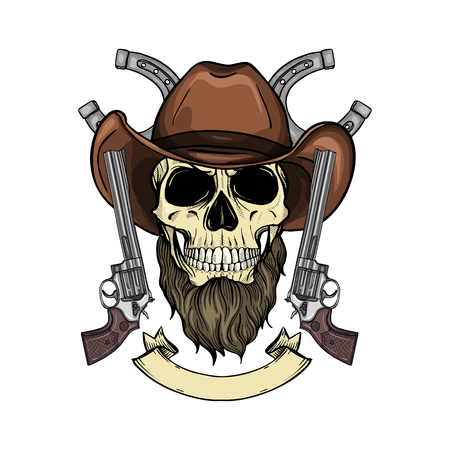 Hand drawn sketch, color skull with cowboy hat, revolver and beard