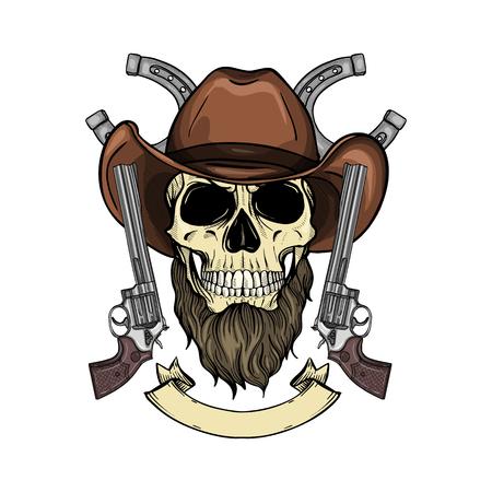 Schizzo disegnato a mano, teschio colorato con cappello da cowboy, revolver e barba