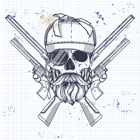 Sketch, skull with mustaches, hunter hat, guns and ribbon for text on a notebook page