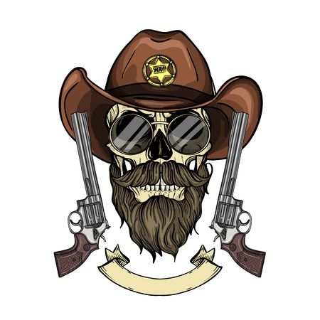 Hand drawn sketch, color skull with cowboy hat, sheriffs badge, revolver, beard and mustaches and glasses