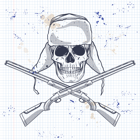 Sketch, skull with hat with ear flaps, rifles on a notebook page