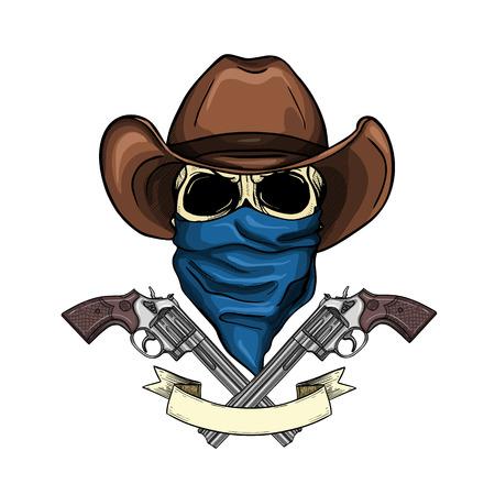 Farbe Totenkopf mit Cowboy