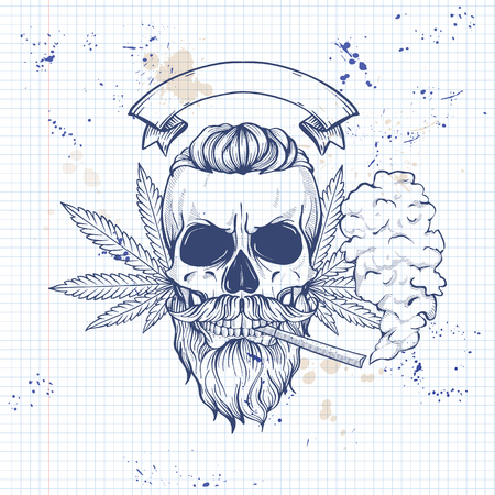 Sketch color skull rastaman
