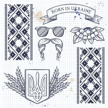 Colección de iconos ucranianos con símbolos de tradición