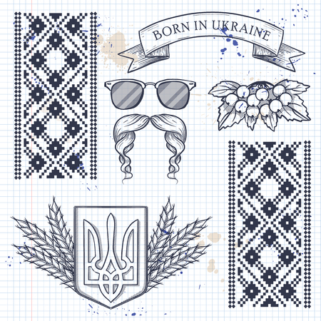 Ukrainian icons collection with tradition symbols Vettoriali