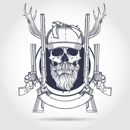 Hand drawn hunter skull Ilustração