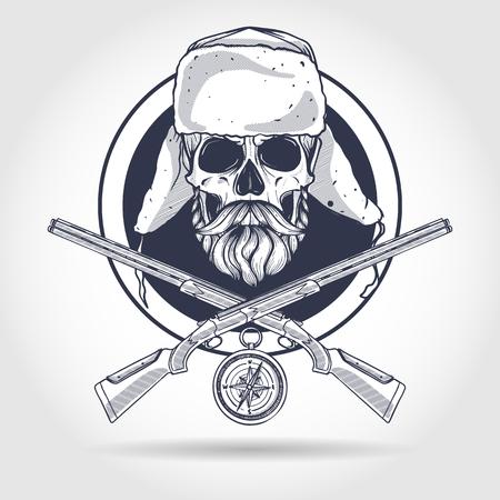 Hand drawn hunter skull 向量圖像