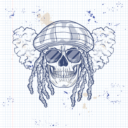 Sketch, skull with dreadlocks, rastaman hat, smoke and sunglasses on a notebook page