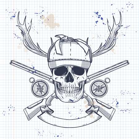 Sketch, skull with hunter hat, rifles, compass and antler on a notebook page Illustration