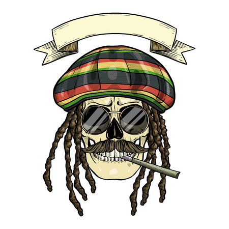 Hand drawn sketch, color skull with dreadlocks, rastaman hat, cigarette, mustaches, and round sunglasses