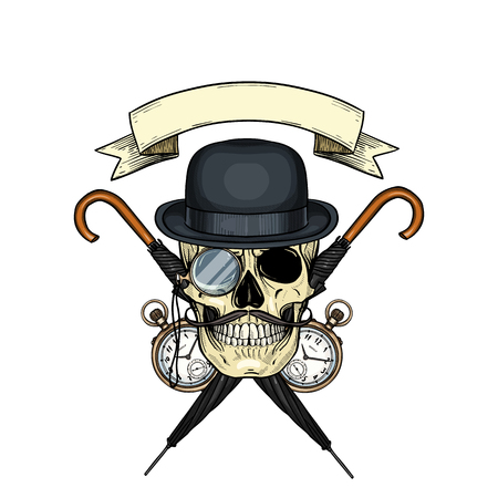 Color british skull with hat bowler and mustaches, rimless eyeglasses, pocket watch and umbrella Ilustrace