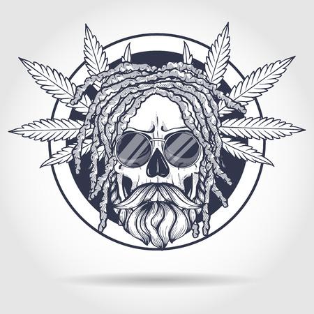 Sketch, skull with dreadlocks, round sunglasses, hemp leaf and beard and mustaches Ilustração