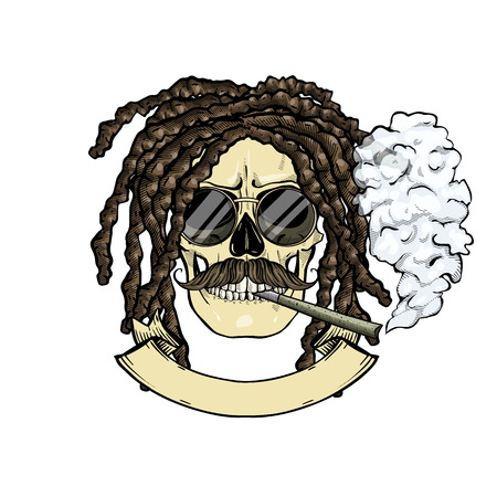 Hand drawn sketch, color skull with dreadlocks, round sunglasses, cigarette and mustaches