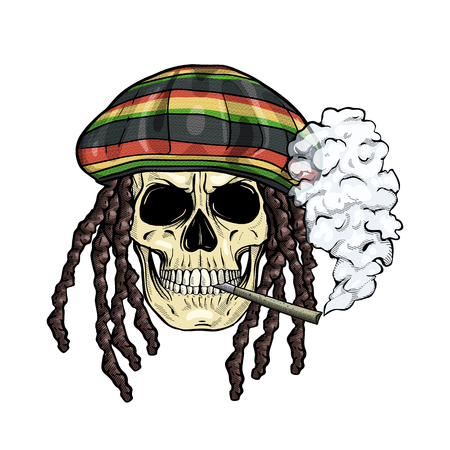 Hand drawn sketch, color skull with dreadlocks, rastaman hat, cigarette and smoke