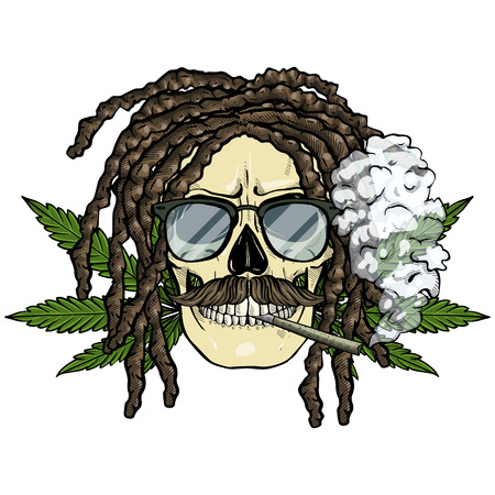Hand drawn sketch, color skull with dreadlocks, cigarette, mustaches, hemp leaf and sunglasses