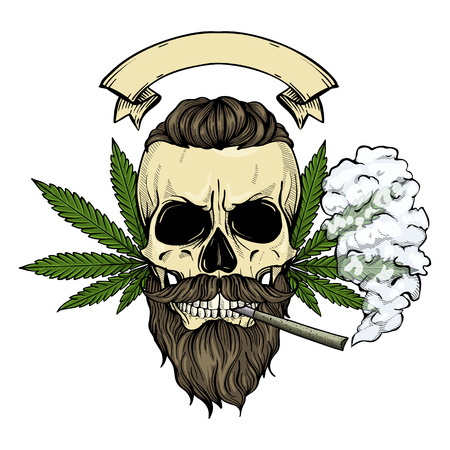 Hand drawn sketch, color skull with beard and mustaches, cigarette, smoke and hemp leaf Ilustracja