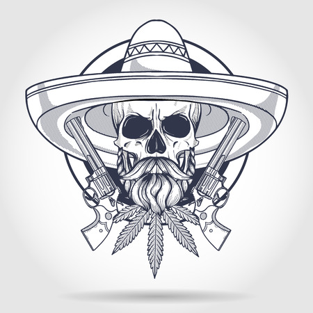 Hand drawn sketch, skull with, sombrero, beard and mustaches, hemp leaf, revolver Stock Illustratie