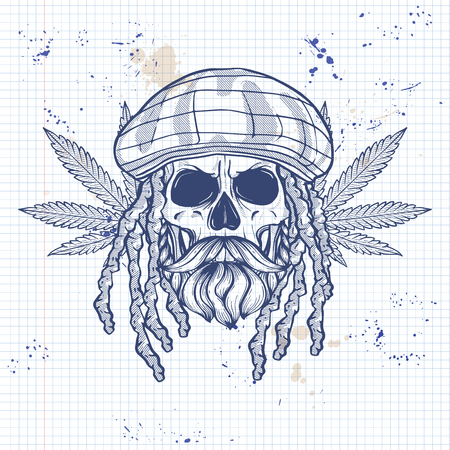 Sketch, skull with dreadlocks, rastaman hat, beard and mustaches and hemp leaf on a notebook page Illustration