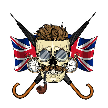 Color britishskull with hairstyle, mustaches, rimless eyeglasses, umbrella, pocket watch and british flag