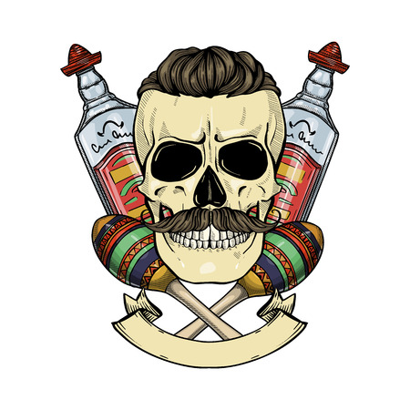 Hand drawn sketch, color skull with maracas, mustaches and tequila bottle Ilustração