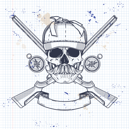 Sketch, skull with mustaches, hunter hat, rifles, compass and ribbon for text on a notebook page