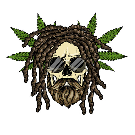 Hand drawn sketch, color skull with dreadlocks, round sunglasses, hemp leaf and beard and mustaches