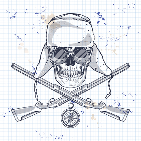 Sketch, skull with hat with ear flaps, rifles, compass and glasses on a notebook page Illustration