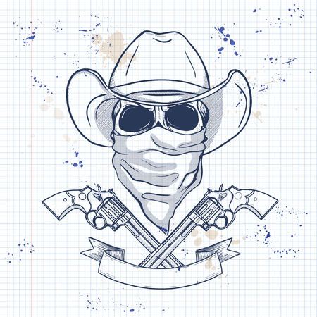 Sketch, skull with cowboy hat, revolver, headscarf face mask on a notebook page