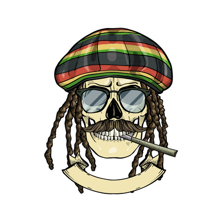 Hand drawn sketch, color skull with dreadlocks, rastaman hat, cigarette, mustaches and sunglasses