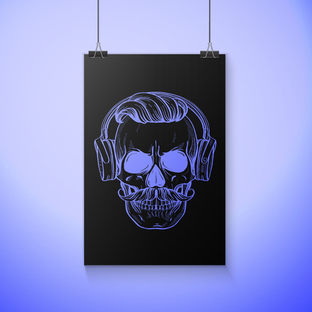Angry skull with moustaches, hairstyle and headphones. Vector illustration, EPS 10
