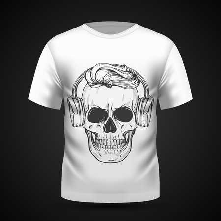 Angry skull on t-shirt